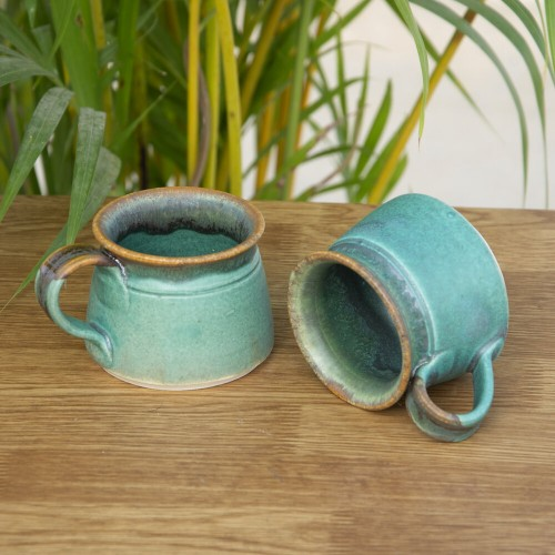 Mat Finished Teal Coffee Cup - Set of 2